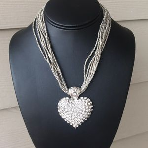 Jewelry - FINAL🛑HEART PENDANT NECKLACE BLING RHINESTONES